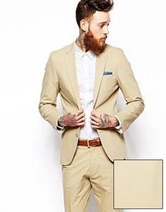 ASOS Stone Slim Fit Suit Jacket In Poplin (£60) (£30 Trousers)