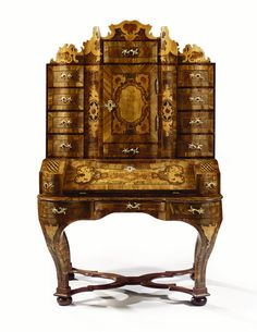 A FINE SOUTH GERMAN GILT-BRONZE MOUNTED WALNUT, MARQUETRY AND ENGRAVED SECRÉTAIRE 'AUFSATZSCHREIBSCHRANK', DRESDEN BAROQUE, MID 18TH CENTURY