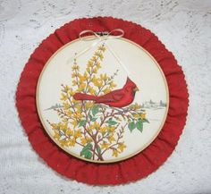 Beautiful vibrant Embroidery Hoop Wall Art with Raised Quilting Cardinal Bird $7.00