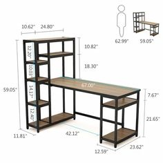 Headen Reversible Computer Desk with Hutch - Arbeitszimmer Welded Furniture, Steel Furniture, Diy Furniture, Furniture Design, Furniture Removal, Furniture Companies, Furniture Stores, Desk Shelves, Desk Storage