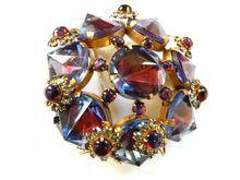 Sensational Humongous High End Designer Reverse Rhinestones Vintage Brooch and Earrings