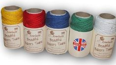 "Everlasto ""Beautiful"" Bakers Twine Primary Solid Colour Craft Pack - 5 x 20m"
