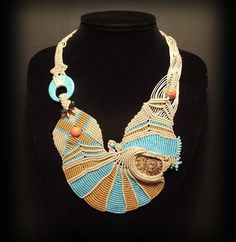 Macrame jewelry necklace with ammonite fossil masterpiece-In love with peacock bay