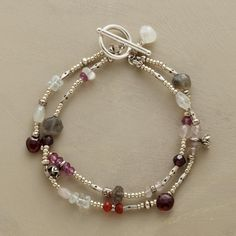 """GARNETS AND MORE BRACELET--Fiery garnets are a blaze of red amidst labradorites, moonstones and pink quartz. Handmade in USA with sterling and Thai silver beads. Exclusive. Toggle clasp. 7-1/2""""L."""