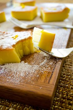 A very light zesty magic custard cake. The batter is really runny, so don't get confused. It gets thicker as it is cooked. Just Desserts, Delicious Desserts, Yummy Food, Sweet Recipes, Cake Recipes, Dessert Recipes, Magic Custard Cake, Cheesecake, Sweets Cake
