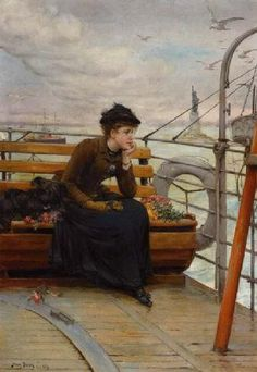 Women ⚓ of salt air⊰⛵  .Distant Thoughts - Henry Bacon (American, 1839-1912)