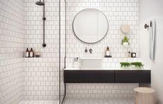 witte badkamer zonder tegels wastafel met kraan uit muur design - Google zoeken