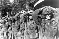 """ British POW's at Arnhem. British Airborne Division parachutists captured by the Germans in the area of Arnhem in the Netherlands September 1944 during Operation Market Garden. British Soldier, British Army, Operation Market Garden, Parachute Regiment, History Online, Paratrooper, Military History, World War Two, Troops"