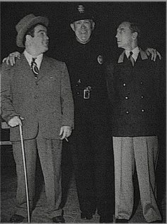 Lou Costello, Edgar Dearing and Buster, 1945
