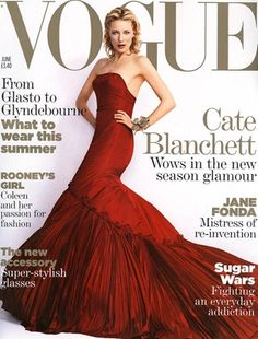 2005: Cate Blanchett on the cover of Vogue wearing a red McQueen gown
