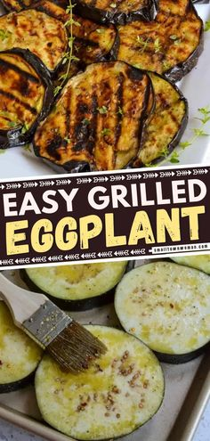 An easy grilled eggplant recipe for dinner! This recipe only needs just a handful of ingredients and cooks up flavorful in 10 minutes. You are going to love this tasty meal. Save this grilling recipe for later! Grilling Recipes, Cooking Recipes, Grilling Ideas, Grilled Eggplant, Tasty, Yummy Food, Eggplant Recipes, Vegan Gluten Free, Paleo