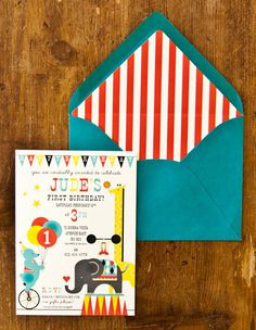 circus invite, so cute! I love the envelope liner too.