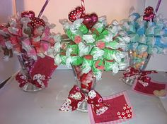 Valentine Candy Sundae for table decorations at church