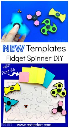 DIY Printable Fidget Spinner Template (without bearings. You loved our previous DIY Fidget Spinners so much, that we have created some more Free DIY Printable Fidget Spinner Templates. This set we made using Post-it Notes, giving them a super bright and colourful finish. So cute. So easy. So fun. Perfect for summer camps. Print your Hand Spinner Templates and get making!