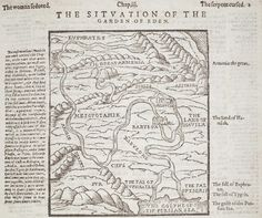 Map of the situation of the Garden of Eden, from a London edition of the Geneva Bible, 1615.