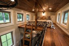 Guest Bedroom. Architecture with a Two Double Rooms Tiny House. By Timbercraft.