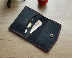 Handmade leather coins wallet free shipping by ATLeatherBoutique