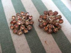 Vintage Pink Rhinestone Cluster Clip Earrings   SelectionsBySusan - Jewelry on ArtFire