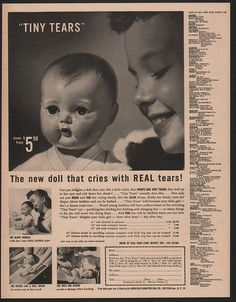 1950 TINY TEARS Doll - The New Doll That Cries With Real Tears VINTAGE AD