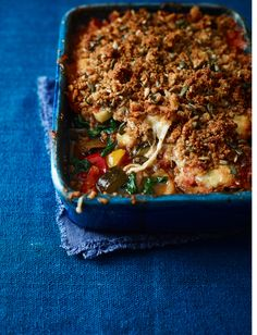 Never made a savoury crumble before? Our delicious ratatouille and melting mozzarella crumble recipe is the place to start and it& help you get in three of your five-a-day Vegetarian Recipes Dinner, Veg Recipes, Italian Recipes, Cooking Recipes, Vegetarian Food, Vegan Food, Healthy Recipes, Sainsburys Recipes, Kitchens