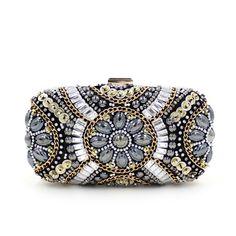 brand chain bag 2017 new heavy hand-sewn diamond bead evening bag high-end gem holding evening bag