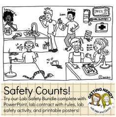 Safety Counts! Use a mishap poster to discuss the rights and wrongs of the science lab. #gettingnerdy #INB