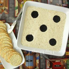 Game Night Dice Dip!  Create a quick and easy party appetizer from Hungry Happenings.  I could do this with two of my square bowls together as a domino.