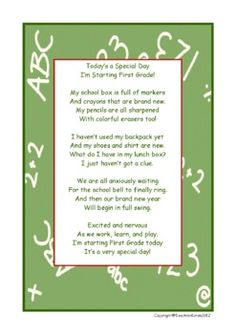 My First Day in First Grade Poem image 2