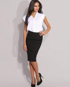pencil skirt outfits | Nice work outfit...love that blue pencil ...