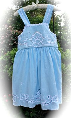 Vintage Style Wedgewood Girls Dress Blue With White by IzzyRoo   68.00