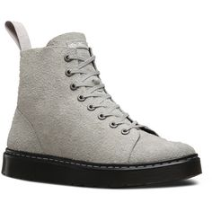 Dr. Martens Leather Talib Boots ($96) ❤ liked on Polyvore featuring shoes, boots, grey, slip resistant boots, distressed boots, grey shoes, distressed leather boots and dr martens shoes