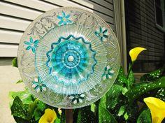vintage glass plate flower suncatcher garden glass flower upcycled recycled glass painted garden art outdoor decor garden gift garden whimsy