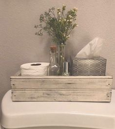Blessed Farmhouse Style Box Farmhouse Decor Table CenterpieceBack of the Toile ., Blessed Farmhouse Style Box Farmhouse Decor Table Decoration Back of Toilet Mason Jar Box Rustic Wooden Box French Country W. Diy Bathroom, Bathroom Styling, Bathroom Ideas, Half Bathroom Decor, Simple Bathroom, Decorating Bathrooms, Silver Bathroom, Bathroom Table, White Bathroom