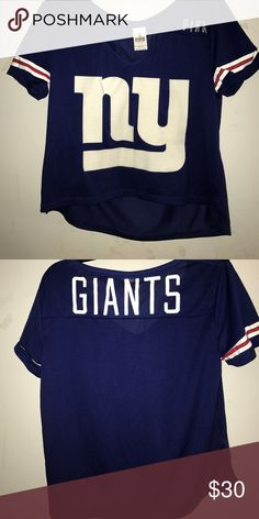 Victoria Secret Giants Jersey New York Giants football jersey. White NY logo and white Giants logo on the back. PINK Victoria's Secret Tops Crop Tops