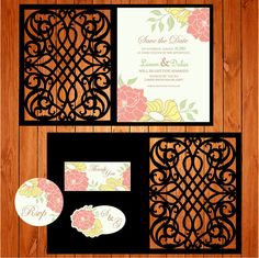 Wedding card invitation template, arabesques, figures (studio V3, svg) lasercut download immediate Silhouette Cameo, Circuit, vector