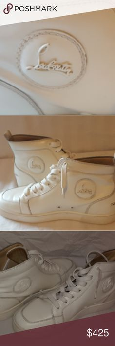 """Louboutin Rantus High Tops Authentic Christian Louboutin High top Sneakers Off white Size 39.5 = 6.5/7 US Men 8/9 in women's Measures almost 11"""" across bottoms. Pre-owned and in Great Condition! Christian Louboutin Shoes Sneakers"""