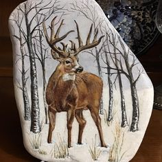 Feather Painting, Pebble Painting, Stone Painting, Rock Painting, Deer Photos, Deer Pictures, Wildlife Paintings, Wildlife Art, Mini Paintings