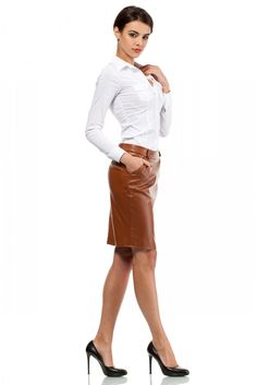 Cognac leather pencil skirt and heels