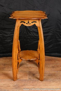 Oak Arts and Craft Side Table Pedestal Stand Antique English Furniture