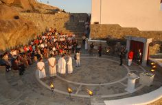 Award Ceremony with Greek Theme, at stone-built Amphitheater of Mykonos Grand Luxury Hotel Mykonos Luxury Hotels, Myconos, Mykonos Town, Mykonos Island, Outdoor Stone, Five Star Hotel, Outdoor Venues, Luxury Holidays, Grand Hotel