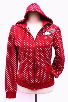 Get it at Bad Reputation! #SelfEsteem #RednWhite #PolkaDots #Hoodie #Jacket Sm OR Med #Rainbow #Spots #Dots #Sping #BasicJacket #Ebay #Red #CuteJacket #Cute #Girly #Fun