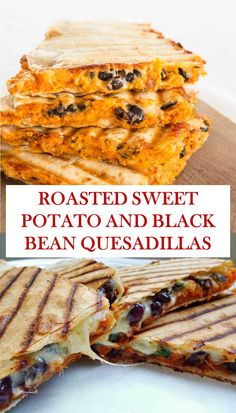 Easy recipe for roasted sweet potato quesadillas and black beans - Here& the . - Easy Recipe for Roasted Sweet Potato and Black Bean Quesadillas – Here is the easy recipe for Roa - Best Vegan Recipes, Veggie Recipes, Low Carb Recipes, Vegetarian Recipes, Cooking Recipes, Favorite Recipes, Healthy Recipes, Quesadillas, Sweet Potato Quesadilla