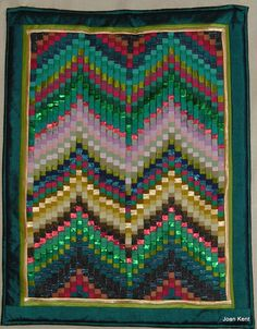 Bargello style quilt wall hanging made for my show in Rayleigh, Essex 2002. Mostly silk.  Joan Kent