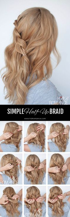 Hair Romance - Simple half-up braid tutorial