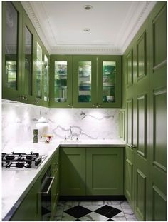 olive green kitchen cabinetry // color trends - olive green // simplified bee