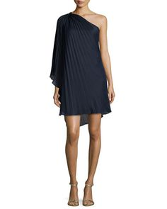 One-Shoulder Plisse Cocktail Dress, Navy by Halston Heritage at Neiman Marcus.