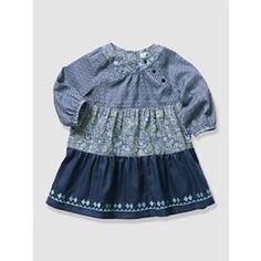 Vestido com mistura de estampados para bebé menina VERTBAUDET