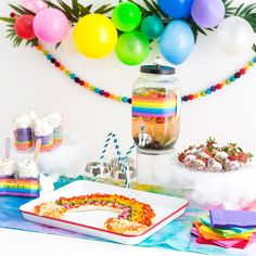 Throw the Ultimate Rainbow Party With These 8 Colorful DIYs via Brit + Co All The Colors, Diy Tutorial, Party Planning, Diy And Crafts, Birthday Cake, Rainbow, Entertaining, Diys, Creative