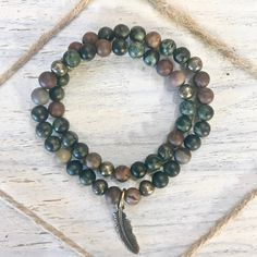 Chohua Jasper, Kambaba Jasper and Pyrite Double Wrap Healing Crystal Bracelet with Feather Charm handmade by Soul Sisters Designs