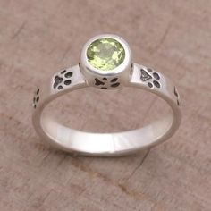 Novica Garnet single stone ring, Paws for Celebration